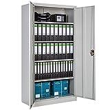 TecTake Armario archivador de oficina metálico con 2 puertas bloqueable e estantes - varias tamaños -...