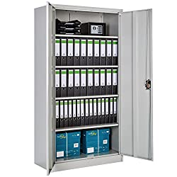 TecTake Storage Cupboard Filing Cabinet Grey   Shelves 2-Door and Lock System - Different Sizes - (180x90 x 40 cm   no. 402483)