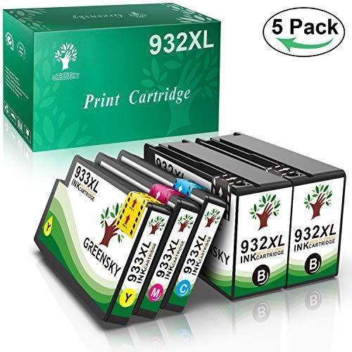 GREENSKY 5 paquetes cartucho de tinta compartible de reemplazo para HP 932XL 933XL para HP Officejet 6100 6600 6700 7110 7510 7610 7612 Impresora - (2 Negro, 1 Cian, 1 Amarillo, 1 Magenta)