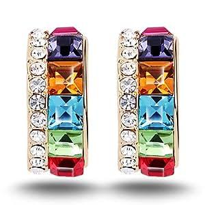 7 Ounces - 'I want you' - Boucle d'oreille pendant - Bijoux Femmes fantaisie - Alliage plaqué or - Cristal Swarovski Elements multicolore