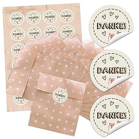 24 kleine braune Gastgeschenk Mitgebsel Papier-Tüten beige weißen Punkten (13 x 18 cm) und 24 runde Aufkleber Sticker DANKE m. Geschenk in beige