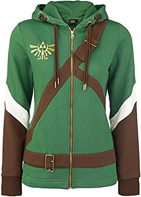The Legend of Zelda Cosplay Zip-Hoodie Chaqueta con capucha Mujer verde/marrón