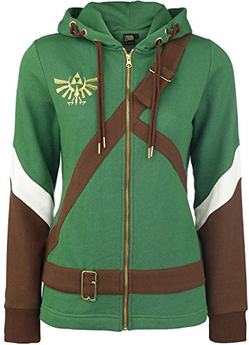 The Legend of Zelda Cosplay Zip-Hoodie Chaqueta con capucha Mujer verd