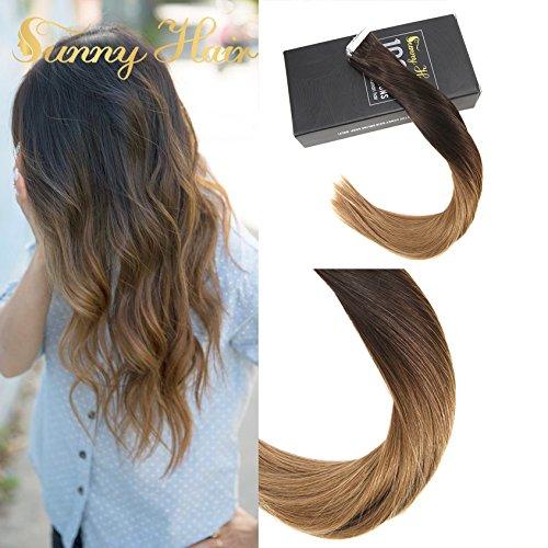 Sunny due toni marrone scuro a bionda caramello extension adesive capelli veri 20 fasce remy ombre capelli umani tape extensions 40cm 50g/set