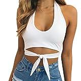 Moonuy,Damen weiße Weste, Crop Weste für Damen, Sport Tops Weste Fashion Camisole ärmellose T-Shirt, Persönlichkeit Kreuz V-Ausschnitt Elegante schlanke Bluse (Weiß, EU 34 / Asien S)
