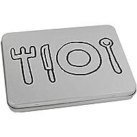 Azeeda 170mm x 130mm Cuberteria Caja de Almacenamiento / Lata de Metal (TT00061775