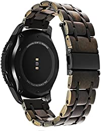 Trumirr Gear S3 Classic/Frontier Bracelet 22 mm Natural Wood & Stainless Steel Bracelet Quick Release Watch Band for Samsung Gear S3 Frontier Classic Smart Watch