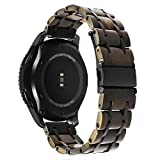 TRUMiRR Gear S3 Classic/Frontier Holz Armband, 22mm Natürliches Holz & Edelstahl Armband Quick Release Uhrenarmband für Samsung Gear S3 Frontier/Classic Smartwatch