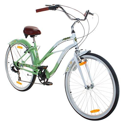 26 Zoll Beachcruiser Viking Retro Ladies Fahrrad Cruiser 2 Farben, Farbe:Grün (Damen-fahrräder, Cruiser 26 Zoll)