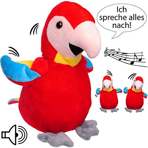 NACH sprechender - Papagei / Vogel / Ara -  Ich spreche Alles nach & bewege Mich dazu  - aus Stoff / Plüsch - Plüschtier - mit Sound & ()