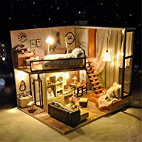 Creative Hand-made Small House Assembly Model Miniature 3d Greenhouse Craft Kits for Adults - Wooden Dolls House with Furniture and Accessories, Educational Toys for Girls - Mini Diorama House Renovat