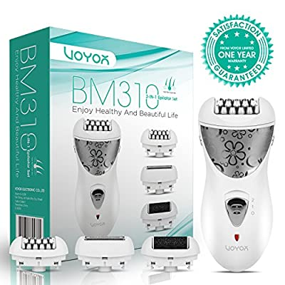 VOYOR Epilator Women Cordless Epilators Electric Hair Trimmer Lady Shaver 3 in 1 Pedicure Hard Skin Remover Rechargeable BM310 from VOYOR