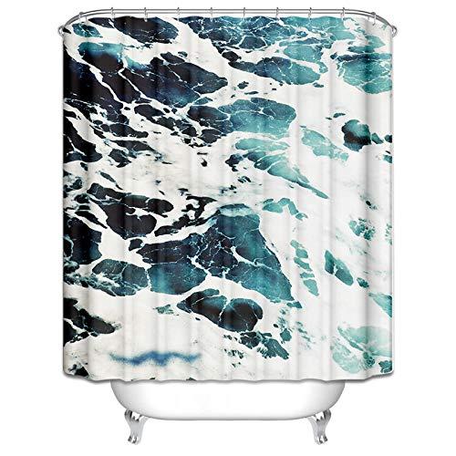 Aeici Duschvorhang 165X180CM Marmor Polyester Vorhang für Badezimmer Fenster Grün Weiß Antibakteriell Wasserdicht