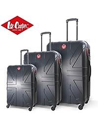 Lee Cooper Set de 3 maletas rígida ABS 4 ruedas 49 – 59 – 69 cm Flag Antracita