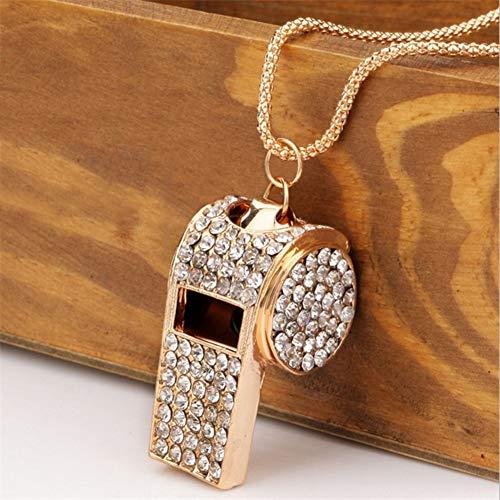 Modeschmuck für Frauen Whistle Form Rhinestone Inlaid Pendant Long Chain Necklace Geschenk