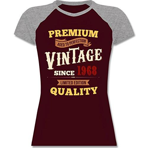 Shirtracer Geburtstag - 50. Geburtstag Vintage 1968 - L - Burgundrot/Grau Meliert - L195 - Zweifarbiges Baseballshirt/Raglan T-Shirt für Damen (Baseball Raglan-Ärmel Shirt)