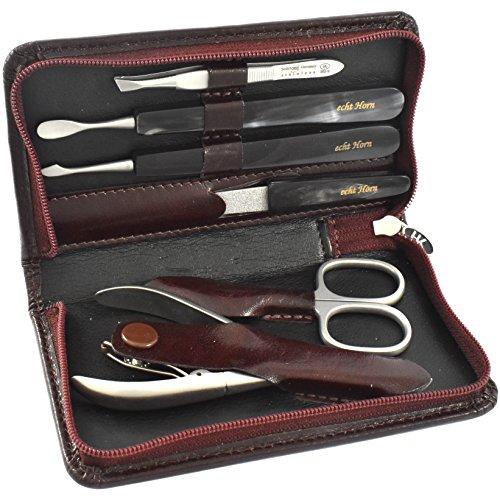 Hans Kniebes 6 Pièces Véritable Luxe Corne et Acier Inoxydable Manucure En Dark Brown étui en cuir
