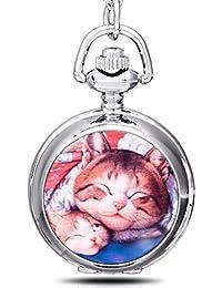Infinite U Paresse Chat/Kitty/Chaton Email Montre de Poche Quartz avec Miroir Argent