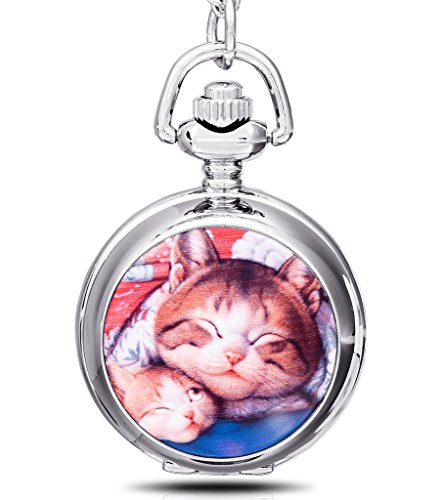 Unendlich U Luxus Schmelz faul Katzen/kitty/Kitten mit groß Quarz Taschenuhr Halskette und lange Kette für Damen/Herren/Mädchen/Junge/Kinder