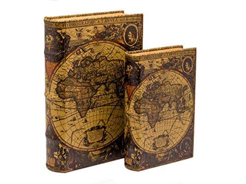 2x Schatulle Weltkarte Holz Buchattrappe Box Kästchen Schmucketui Buch Antikstil (Holz Buch Box)