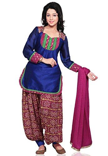 Utsav Fashion Plain Straight Cut Dupion Silk Suit in Blue Colour