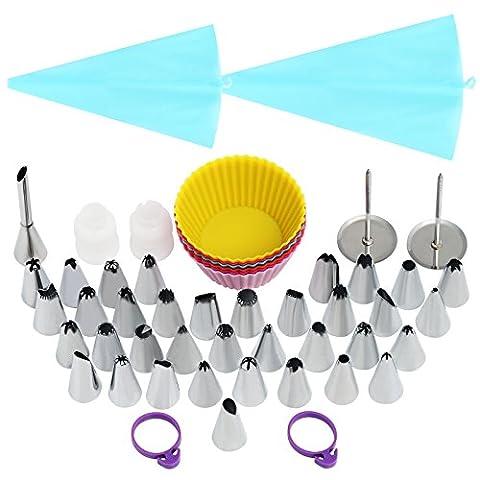 LIHAO Spritztüllen Set mit 36 Garniertülle 2 Spritzbeutel 6 Silikon Muffinformen Set für Pralinen, Plätzchen, Keksen, Kuchen und Torten Deko Edelstahl