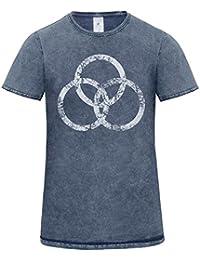 LaMAGLIERIA Camiseta Hombre Vintage Look Linkin Park Japan Cod. Grpr0107 - t-Shirt dnm Plug in Vintage con Estampa Rock