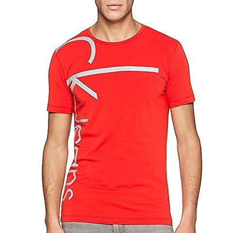 CK JEANS - TRIBEC SLIMFIT CN TEE SS - T-shirt slim avec logo homme BRIGHT WHITE - rouge et blanc (S, ROUGE)