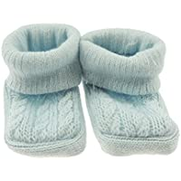 Newborn Baby Girls Boys Cable Knit Booties - Blue