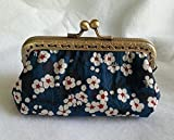 Vintage Clasp purse made with Liberty of London fabric flower pattern 3 piece fabric model