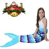 Mermaid Tail Apariencia Manta Cómodo Material Cuatro Estaciones Adecuado El último Estilo Girl Sofá Cama Mantener Caliente Cómoda Sala de estar (AZUL CLARO)