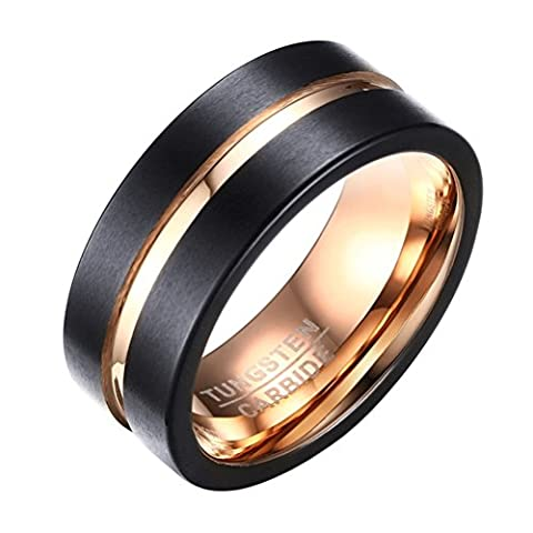 OAKKY Mens Tungsten Carbide 8mm Engagement Wedding Rings Band Middle