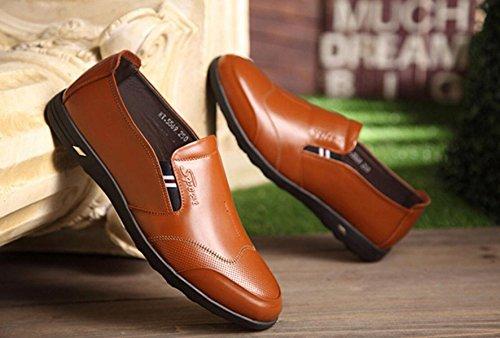 GRRONG Herren Leder Schuhe Freizeit Echtes Leder Breathable Schwarz Braun Blau Brown