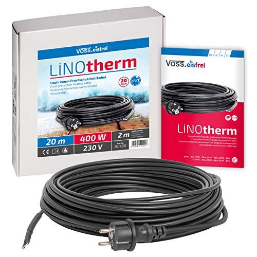 Heizkabel Linotherm | 20 Meter lang | besonders hohe Heizleistung | VOSS.eisfrei | Frostschutz für Dachrinnen und Wasserleitungen | Heizleitung Rohrbegeleitheizung Frostschutzkabel Dachrinnenheizung