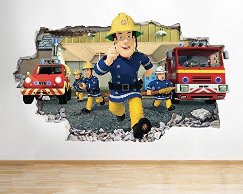 J10Feuerwehrmann Sam Kids Kinderzimmer Cute Wand Aufkleber 3D Poster Art Aufkleber Vinyl Zimmer (Medium (52x 30cm))