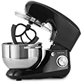 Andrew James Electric Stand Food Mixer With 5. 5 Litre Mixing Bowl For Bread And Dough - 4 Attachments Included, Hook Whisk Splash Guard Cover Ingredients Dispenser 6 Speed Settings, 800W