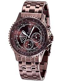 Konigswerk AQ101102G–Reloj de pulsera de hombre, correa de acero inoxidable color marrón