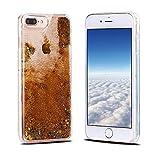 iPhone 8 Plus Hülle, iPhone 7 Plus Schutzhülle, RosyHeart Transparent Handy Case Cover für iPhone 7 Plus/8 Plus (5.5 Zoll) - Dynamisch Treibsand Liquid Fließen Flüssig Schale Tasche Ultradünnen Etui - Gold