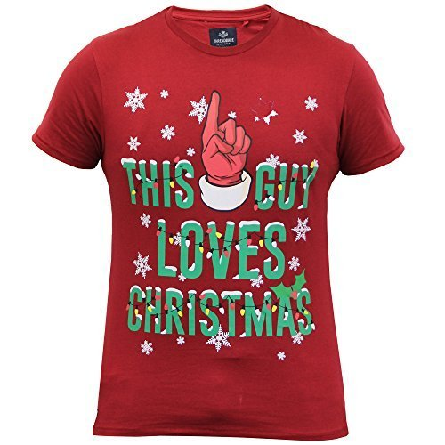 Herren Weihnachten T-shirts Threadbare Eisbär Weihnachten Slogan Schneeflocken Neuheit Neu Rot - MMV103PKA