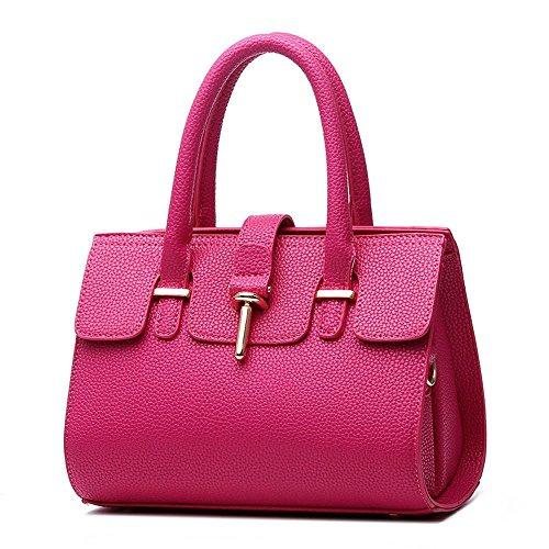 koson-man-crosta-di-litchi-borsa-tote-bags-maniglia-superiore-rosa-rosa-kmukhb205