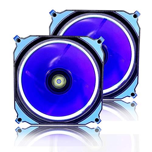 conisy Ring Serie LED Be Quiet PC Gehäuselüfter 120mm Fan Radiator (Blau,2 Pack)