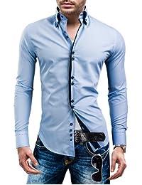 BOLF Herrenhemd Langarm Hemd Figurbetont Freizeit Klassisch Casual Business Bügelleicht Herren Men's Hochzeit Slim fit Modern Super Qualität 1721