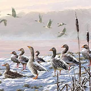 Ambiente Christmas Napkin 33 Centimeter Winter river Geese - Pack of 20
