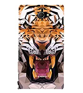 PrintVisa Digital Art Lion 3D Hard Polycarbonate Designer Back Case Cover for Sony Xperia M2 Dual :: Sony Xperia M2 Dual D2302