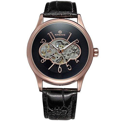 Skelett Rose Watch (Gute Vintage Unisex Rose Gold Mechanische Armbanduhr aufziehbar Skelett Zifferblatt schwarz pu)