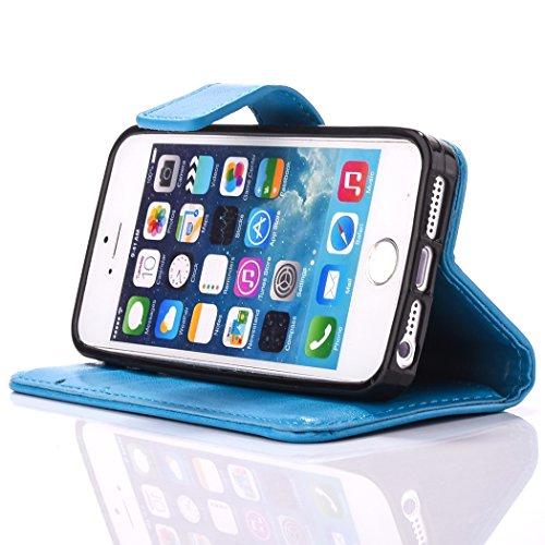 iPhone 6 Plus Hülle,PU Lederhülle für iPhone 6s Plus,Ekakashop Luxuriös Klar Grün Bookstyle Flip Cover Smart Case Schale Weichen Silikon Buchstil Tasche Magnetverschluß mit Standfunktion und Karte Hal Klar Blau