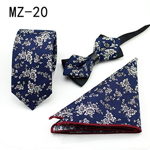 WUNDEPYTIE Dreieckiger Anzug aus Baumwoll-Businesskleid mit englischem Muster, quadratischer Schal, Fliege, Blue R}
