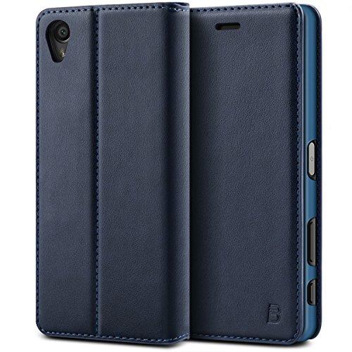 BEZ® Sony Xperia X Hülle, Handyhülle Kompatibel für Sony Xperia X Tasche, Flip Case Cover Schutzhüllen aus Klappetui mit Kreditkartenhaltern, Ständer, Magnetverschluss - Marine
