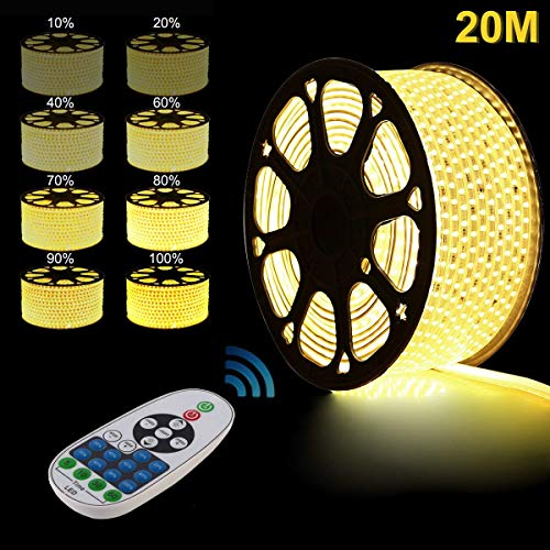 LED Strip, 20m Warmweiß LED Streifen, LED Lichterschlauch Lichtband, GreenSun LED Lighting 5050 SMD Lichterkette Wasserdicht IP65 mit RF Controller für Party, Haus, Weihnachten Deko