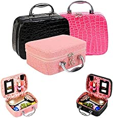 Buyerzone Rich N Royal Multi-function Travel Cosmetic Makeup Bag with Small Mirror Adjustable Dividers for Cosmetics and Brushes (Multicolour, 9178)